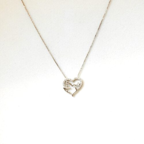 925 Sterling Silver Heart and Bird Necklace