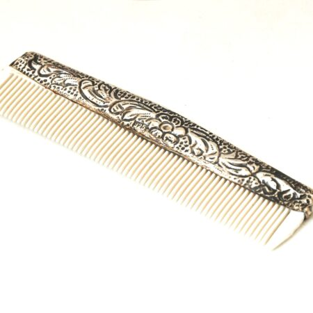 925 Sterling Silver, Ornate Repousse Floral Comb