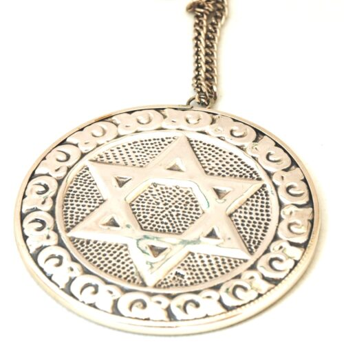925 Sterling Silver, Star of David Ornate Repousse Round Mirror