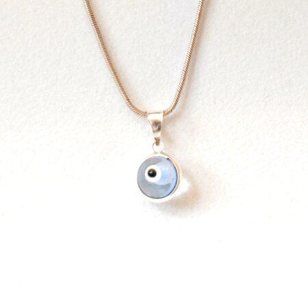 925 Sterling Silver Transparent Light Blue Lapis Pendant