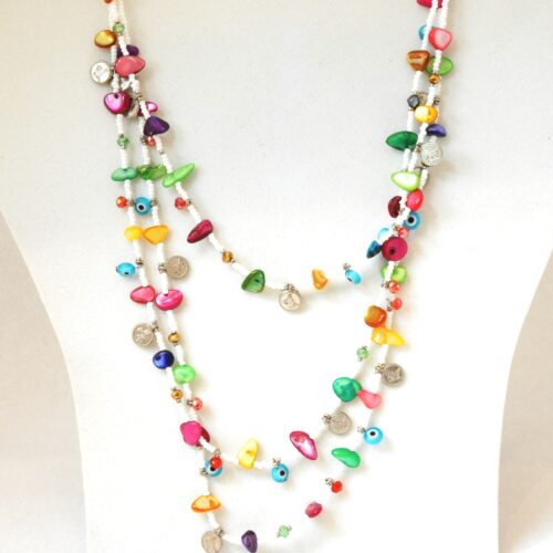 Beaded and Gem, Evil Eye White Fashion Necklace