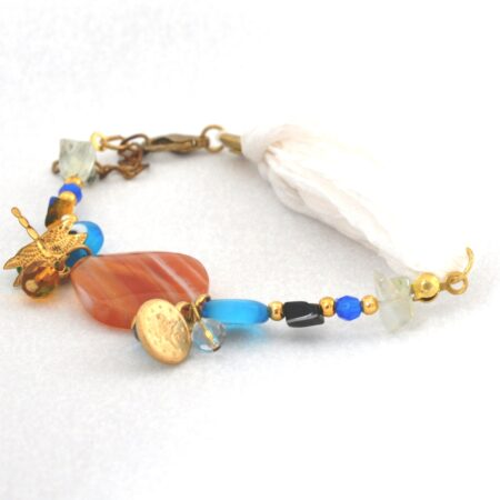 Evil Eye Beaded Bracelet with Silk Band