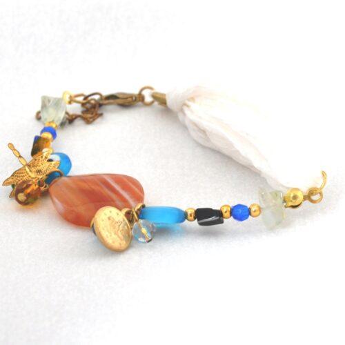 Evil Eye Beaded Bracelet with Silk Band