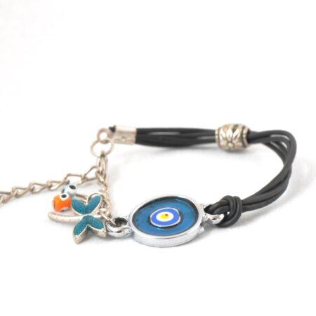 Evil Eye, Enamel, Blue Round Bracelet