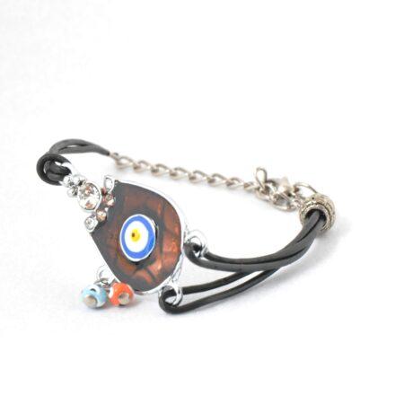 Evil Eye, Enamel, Brown Horseshoe Bracelet