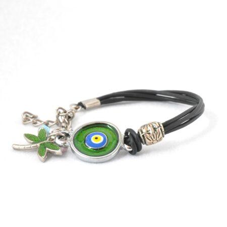 Evil Eye, Enamel, Green Round Bracelet