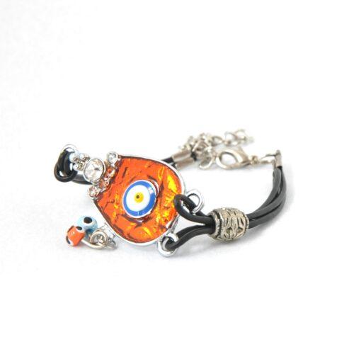 Evil Eye, Enamel, Orange Horseshoe Bracelet