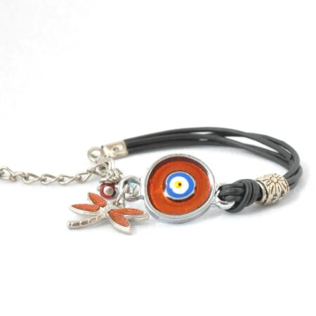 Evil Eye, Enamel, Orange Round Bracelet