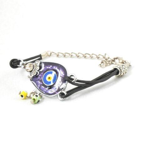 Evil Eye, Enamel, Purple Horseshoe Bracelet