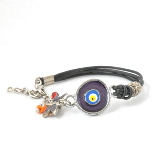 Evil Eye, Enamel, Purple Round Bracelet