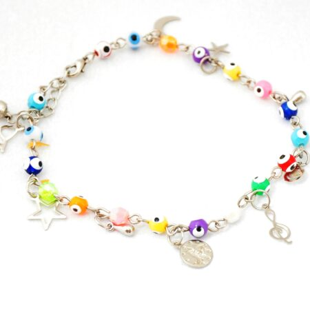 Evil Eye, Multicharm, Multicolor Anklet