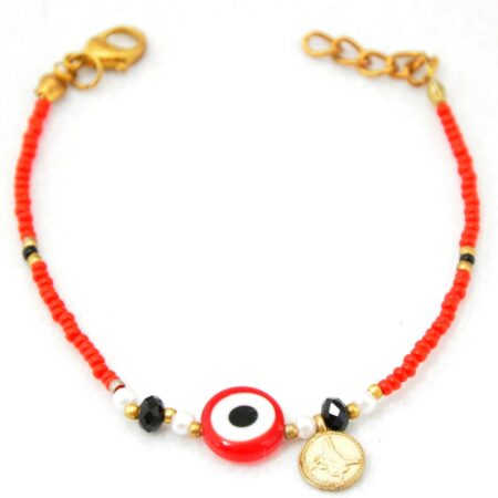 Evil Eye, Red Beads Fashion Bracelet