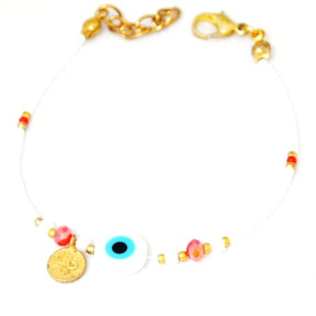 Evil Eye, White Beads Fashion Bracelet