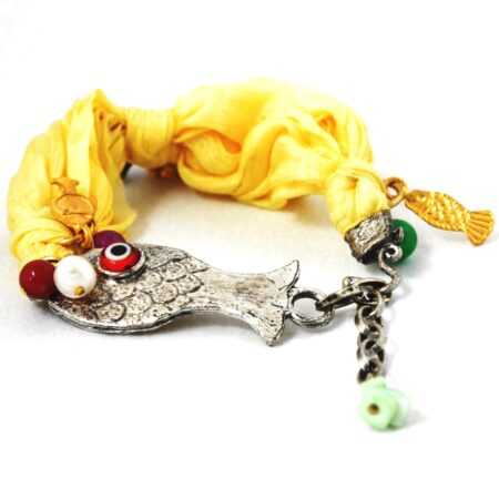 Gemstone, Evil Eye, Fish Bracelet