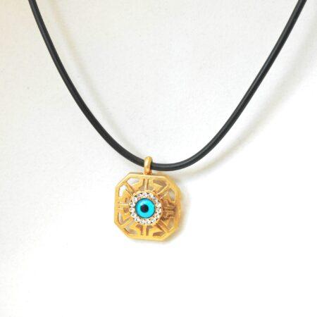 Greek Style Square  Shaped Evil Eye Fashion Necklace