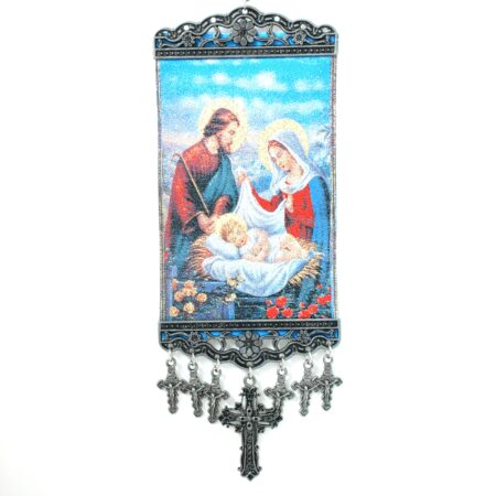 Holy Family, Hanging Cross Tapestry Banner