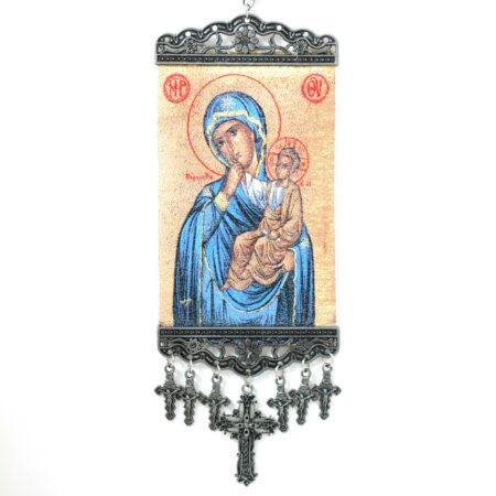 Madonna Mary Baby Jesus, Hanging Cross Tapestry Banner