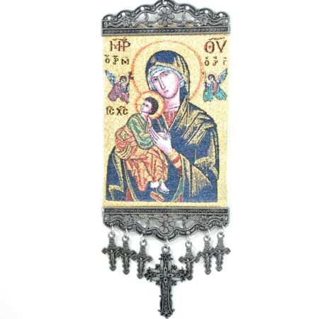 Mary Madonna Baby Jesus, Hanging Cross Tapestry Banner