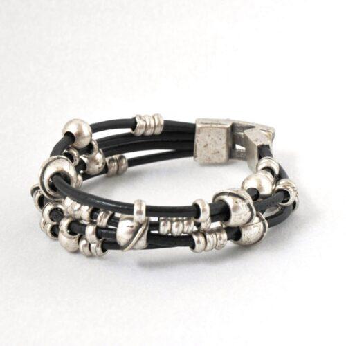 Real Leather, Nickel Free Men's Ball Bracelet