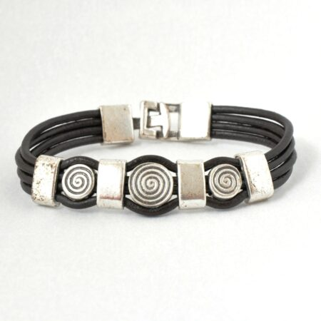 Real Leather, Nickel Free  Men's Circle Bracelet