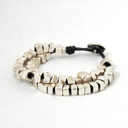 Real Leather, Nickel Free  Men's Cube Bracelet